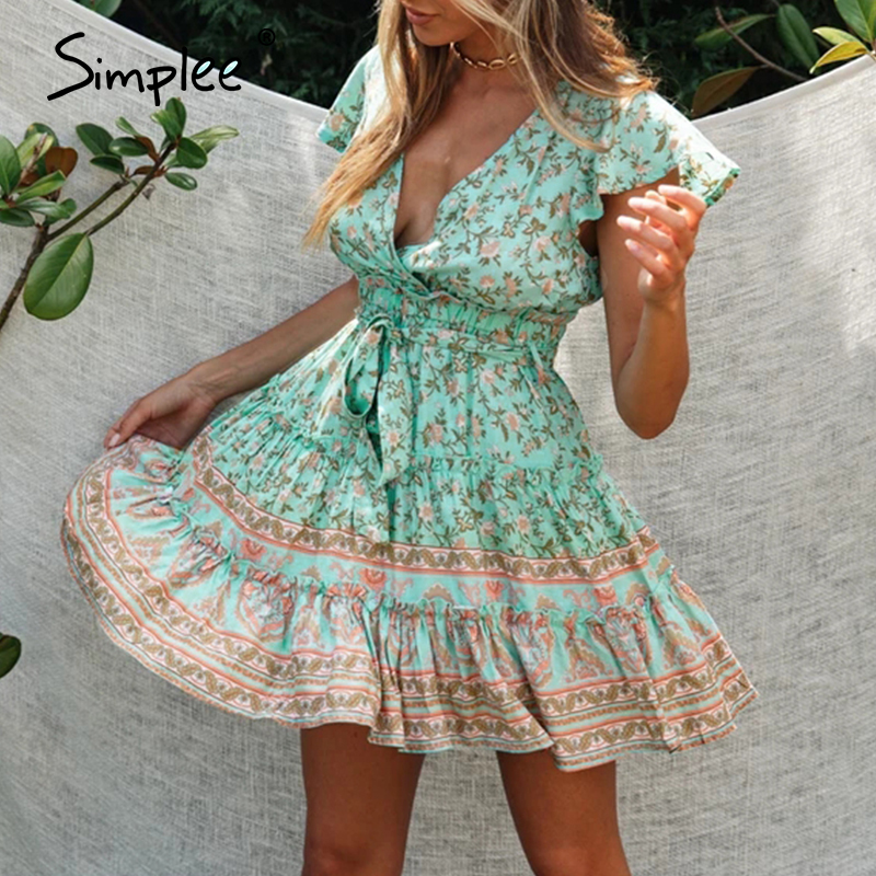 Simplee Casual Floral Print Women Dress V-neck High Waist Cotton Summer Dress Sexy Knot Holiday Beach Wear Plus Size Mini Dress