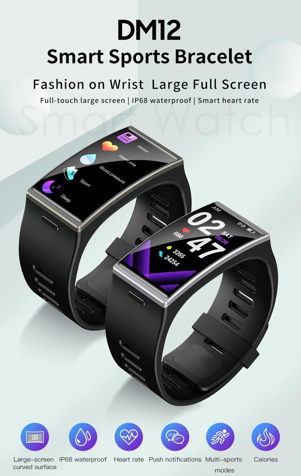 H522e7562ef044ea6aefa9de7bfc69efdJ Smartwatch 2020 1.9 Inch 170*320 Screen LEMFO DM12 Smart Watch Men IP68 Waterproof Sport Heart Rate Blood Pressure Android IOS