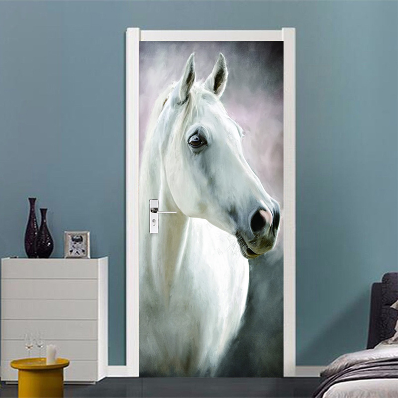 Modern White Horse Door Sticker Living Room Bedroom Creative Home Decor Wall Sticker Self-Adhesive Vinyl Door Murals Wallpapers