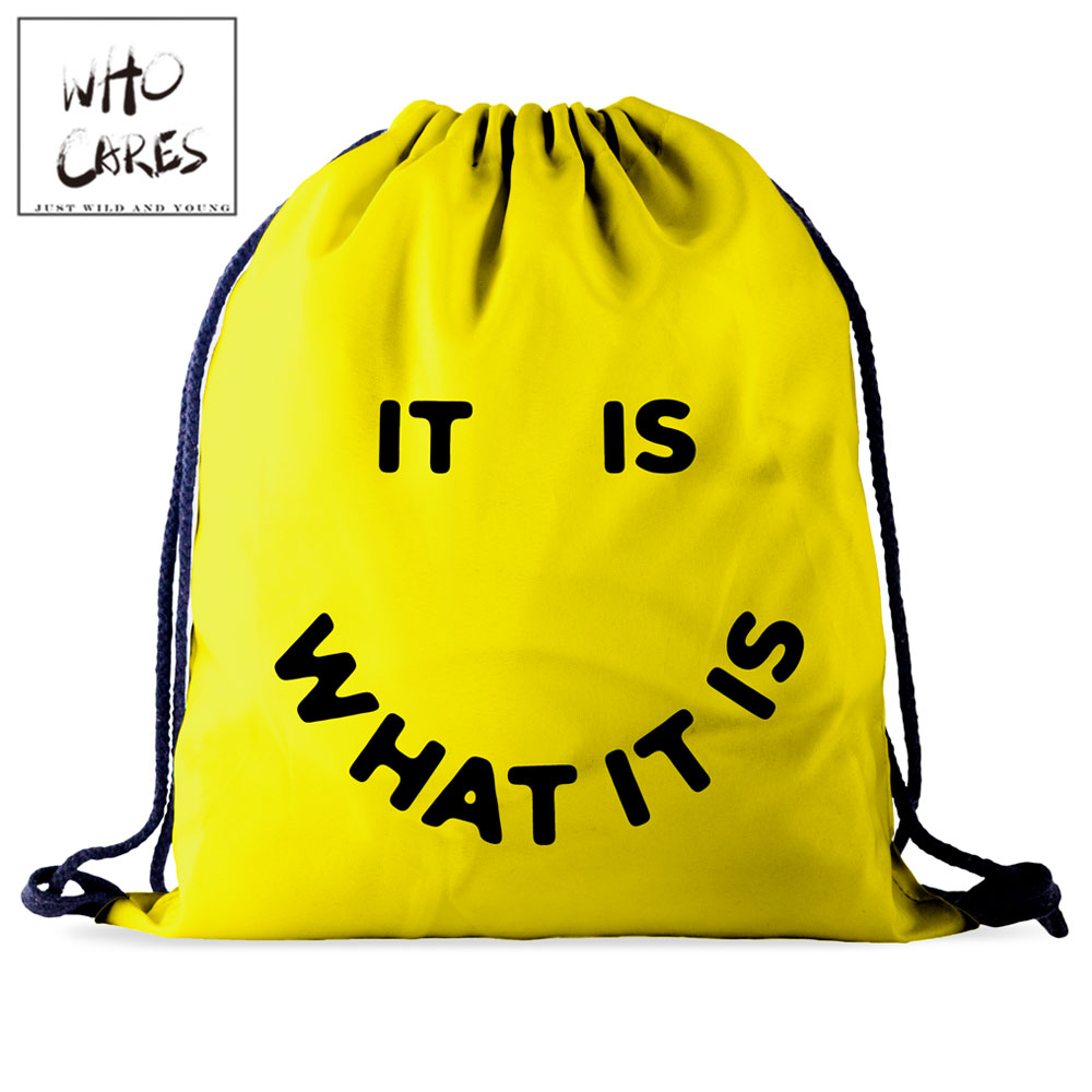 Who Cares Drawstring Bag Gym Pouch Bag Yellow 3D Printing Smile Backpack Women Portable Shopping School Shoe Bag For Girl Travel