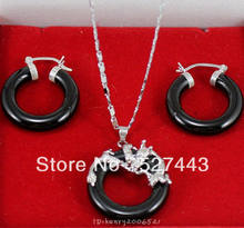 FREE SHIPPING>>@> Wholesale Jewellery black stone natural silver soild dragon pendant necklace earring Natural jewelry(China)