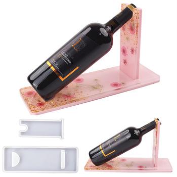 DIY przezroczysta żywica epoksydowa żywica formy stojak na wino wino wino wino w butelce szklane lustro silikonowe formy do żywicy tanie i dobre opinie PUSH PRESENT 0inch SILICONE linki do biżuterii