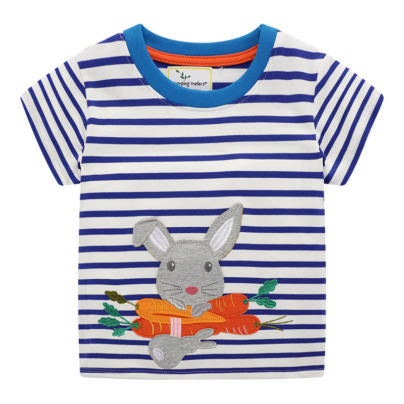 Jumping Meters Animals Applique Girls T Shirts Stripe Summer Baby Clothes Fashion Cotton Kids Tees Tops