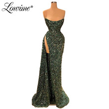 Sparkly Stof Strapless Prom Jurken Lange Aibye Plus Size Afrikaanse Feestjurk 2020 Custom Dubai Kaftans Robe De Soiree