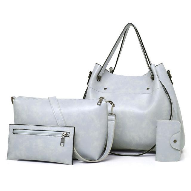 2019 Retro famous brand women bag top-handle bags fashion lady shoulder bags handbag women handbags 4pcs/set PU Leather bag