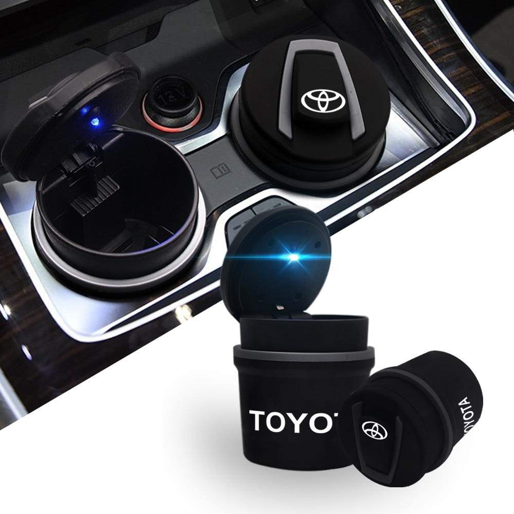 LED Portable Car Ashtray Cars High Flame Retardant Trash Automatic Light Mini Simple Trash Ashtray With Light For Toyota