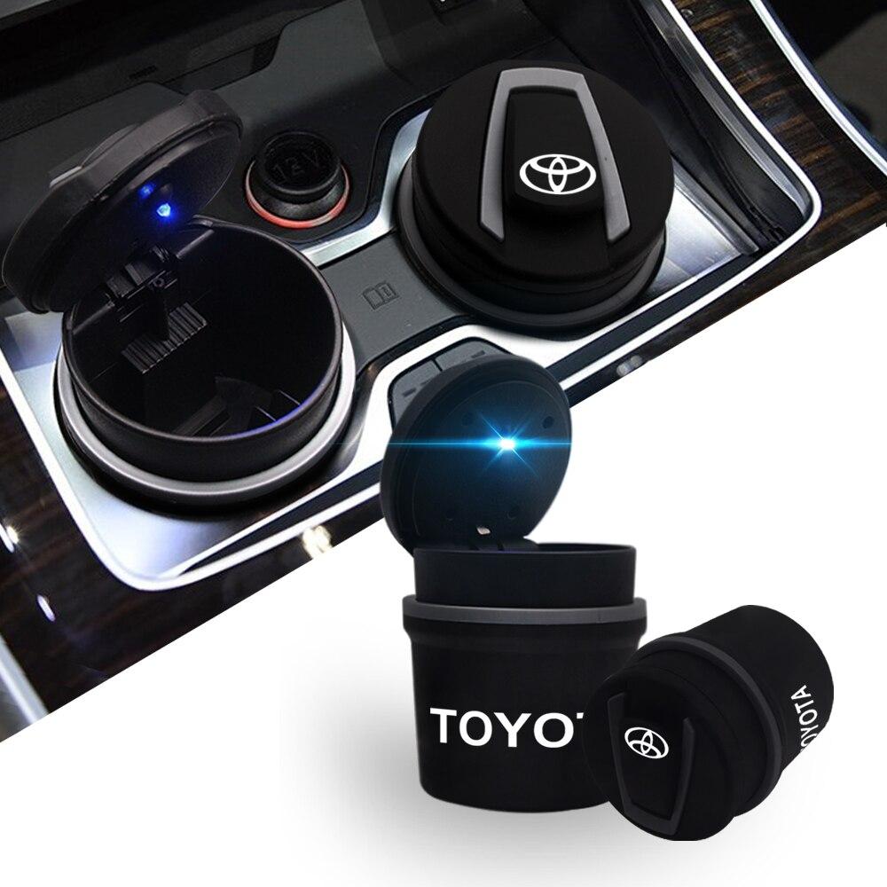 Otomobiller ve Motosikletler'ten Araba Küllüğü'de LED taşınabilir araba küllük arabalar yüksek alev geciktirici çöp otomatik ışık Mini basit çöp küllük Toyota title=
