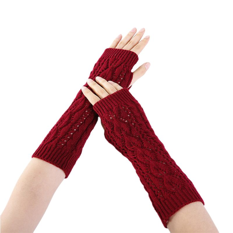 New 2019 Hollow Out Leaf Crochet Fingerless Gloves Women Winter Ribbed Knit Trim Arm Warmers Solid Color Stretchy Mittens