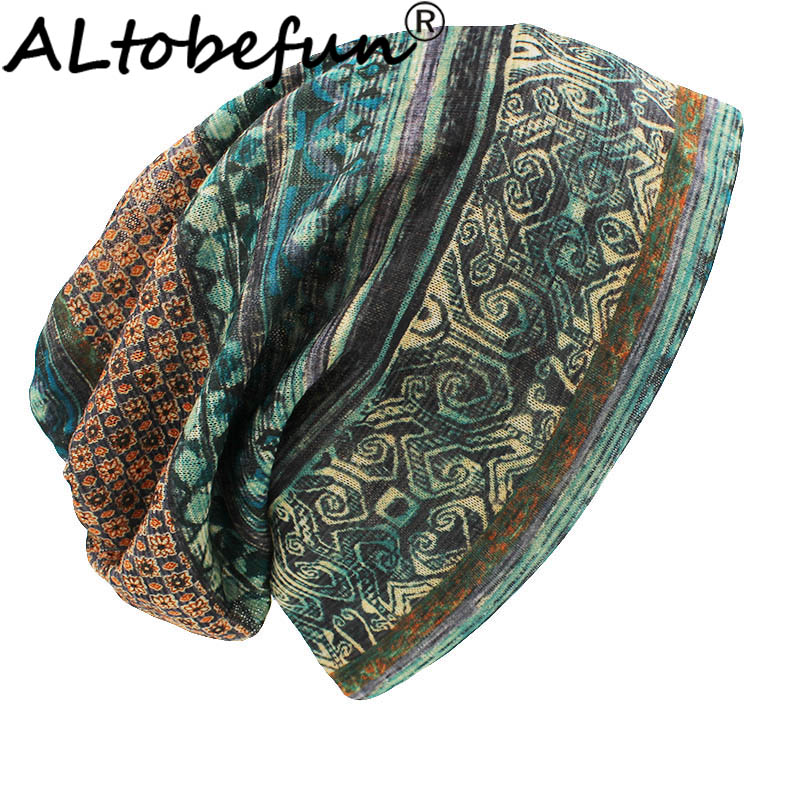 ALTOBEFUN Thin Skullies And Beanies Women Scarf Face Mask Brand Autumn And Winter Dual-use Vintage Design Hats For Ladies BHT015
