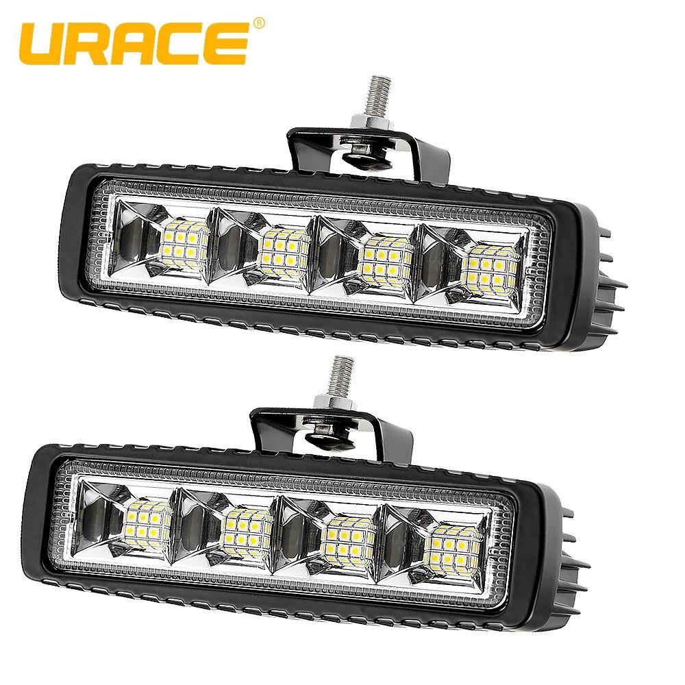 URACE 72w Offroad LED Light Bar 12V 24V Flood Work  For 4x4 4WD Car Truck SUV ATV UTV Boat Driving Fog Lamp