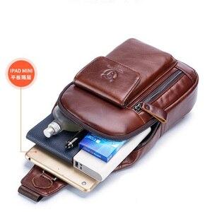 Image 2 - BULLCAPTAIN Bolsos cruzados de piel auténtica para hombre, Bolsa Bandolera de pecho, mochila con una sola Correa, 2020