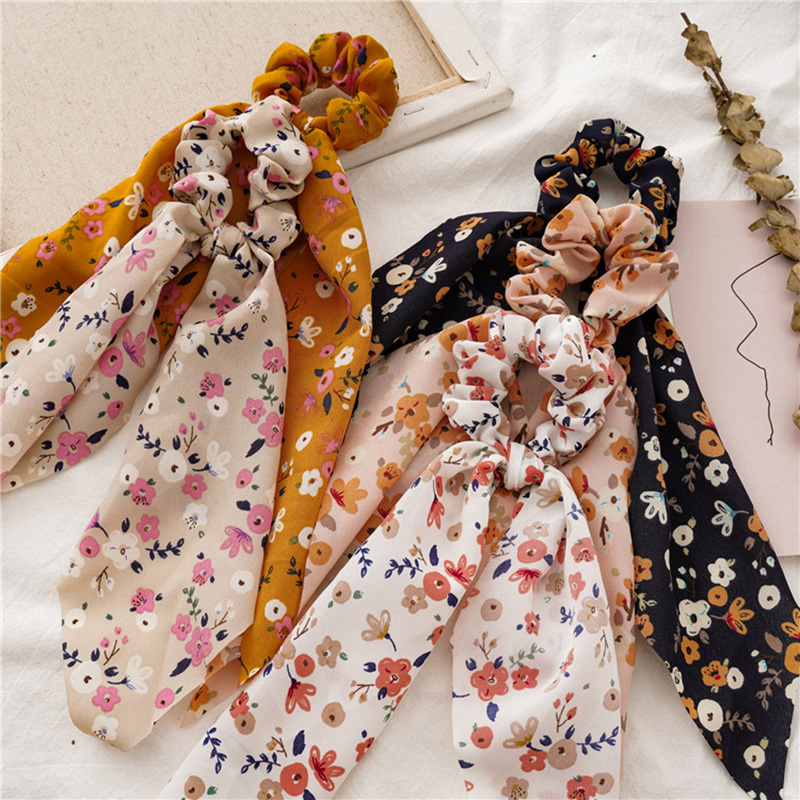 2020  Bohemian Floral Printed Ribbon Bow Hair Scrunchies Women Elastic Hair Band Ponytail Scarf Hair Ties Accessories