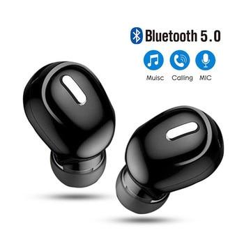 Mini Wireless Bluetooth 5.0 Earphone in Ear Sport with Mic Handsfree Headset Earbuds For All Phone For Samsung Huawei Earphones original sabbat wireless earbuds 5 0 bluetooth earphone sport hifi headset handsfree waterproof ear buds for samsung phone