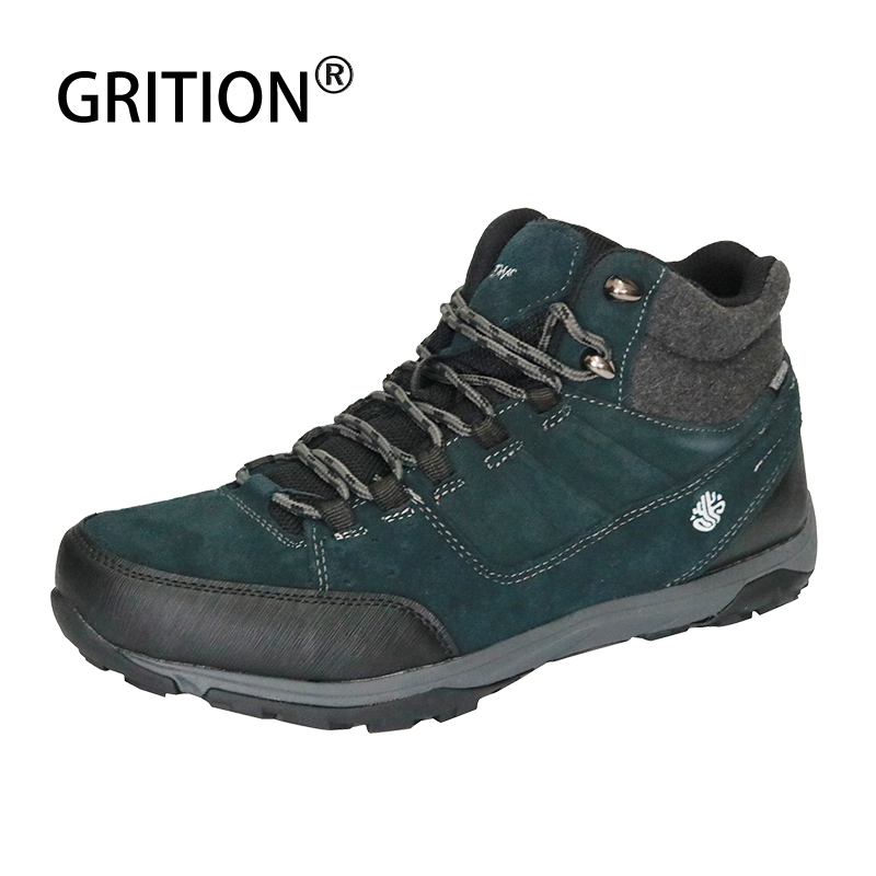 GRITION Men Waterproof Hiking Shoes Cow Suede Trekking Boots Tourism Winter Male High Top Green High Quality Mountain Shoes 2020