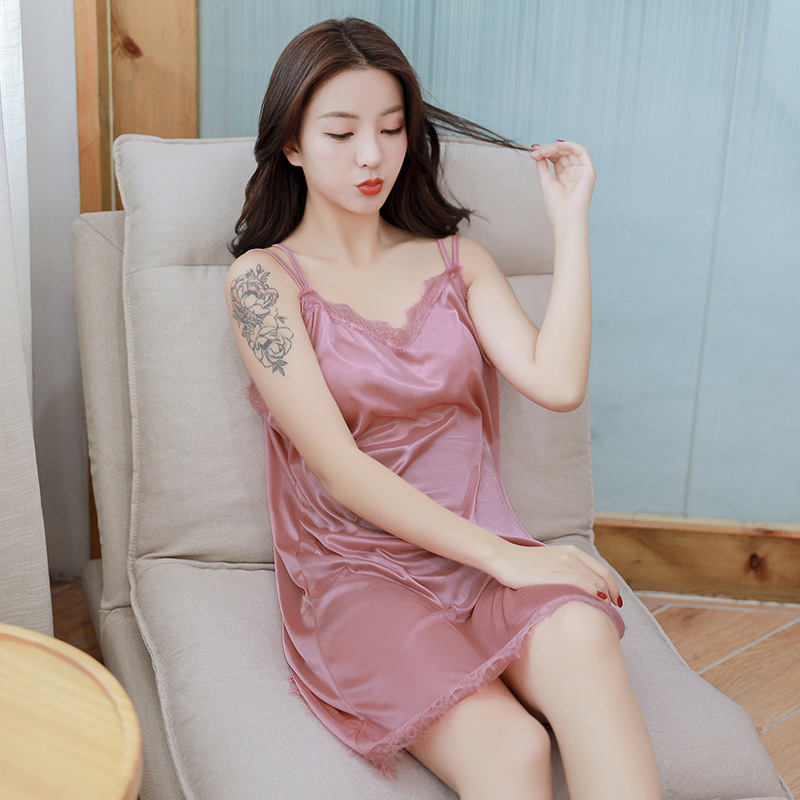 Kee Shing 012 # Spring Summer Nightgown Women's Sexy Lingerie Sexy Pajamas Women's Xia Bing Silk Lace Fitted Skirt Tracksuit