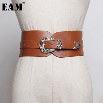 [EAM]  Pu Leather Black Buckle Split Joint Long Wide Belt Personality Women New Fashion Tide All-match Spring 2020 1R373