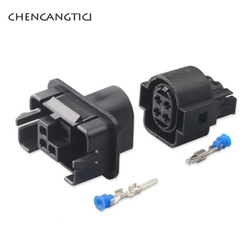 2 Sets 4 Pin Way VW Auto Car Light Lamp Socket Automotive Waterproof Wire 3.5MM Female Male Connector Plug For Audi 1H0973734 image