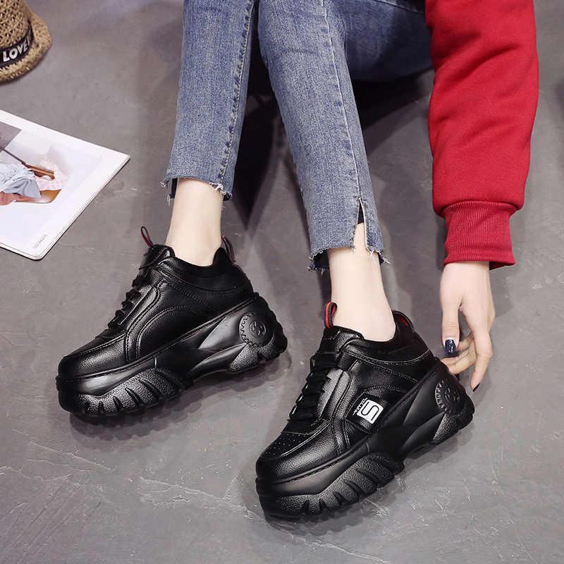 LZJ Mới 2020 Thời Trang Phụ Nữ Cao Nền Giày Mùa Xuân Nữ Đen Trắng Giày Thoáng Khí Zapatos Thường Ngày Mujer Kích Thước