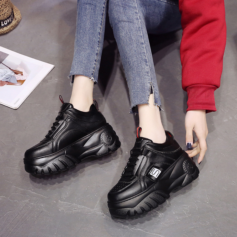 LZJ New 2020 Fashion Woman High Platform Sneakers Spring Female Shoes  Black White Sneakers Breathable Zapatos Casual Mujer Size