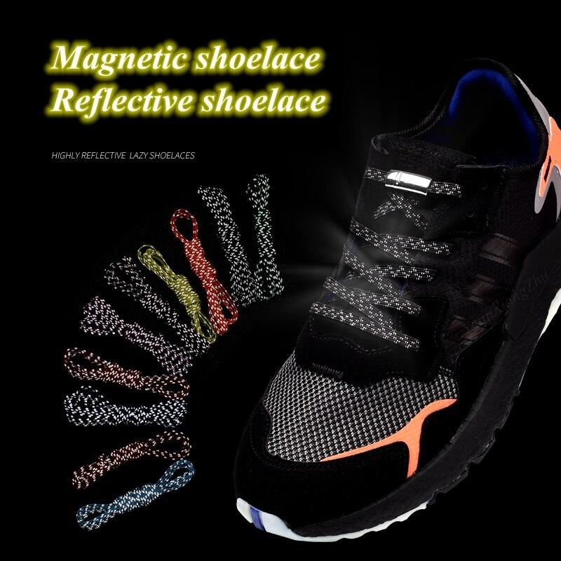 1Pair Reflective Magnetic Shoelaces Quick No Tie Shoe Laces Kids Adult Unisex Shoelace Sneakers Running Shoe Laces Strings
