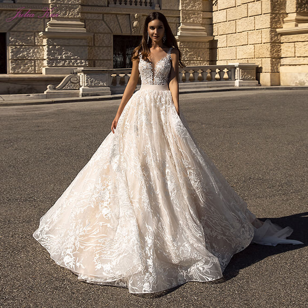 Julia Kui Stunning A-line Wedding Dress With A Delicate Lace Backless Wedding Gown And Bow