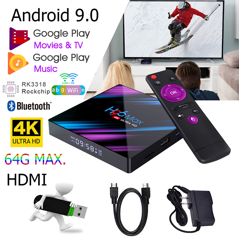 Android 9.0 TV Box H96 Max RK3318 4K Smart TV Box 2.4G&5G Wifi H96Max 4GB 64GB Media Player Google Netflix Youtube Set Top BOX