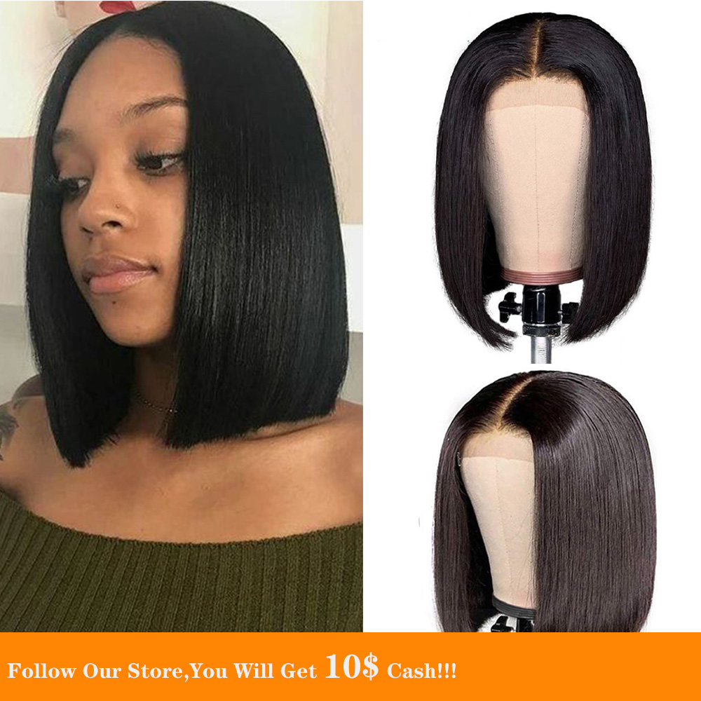 13x6 Straight Lace Front Human Hair Wigs Short Bob Jet Black Hair Large Cap Size Wig Pre Plucked With Baby Hair Natural Looking