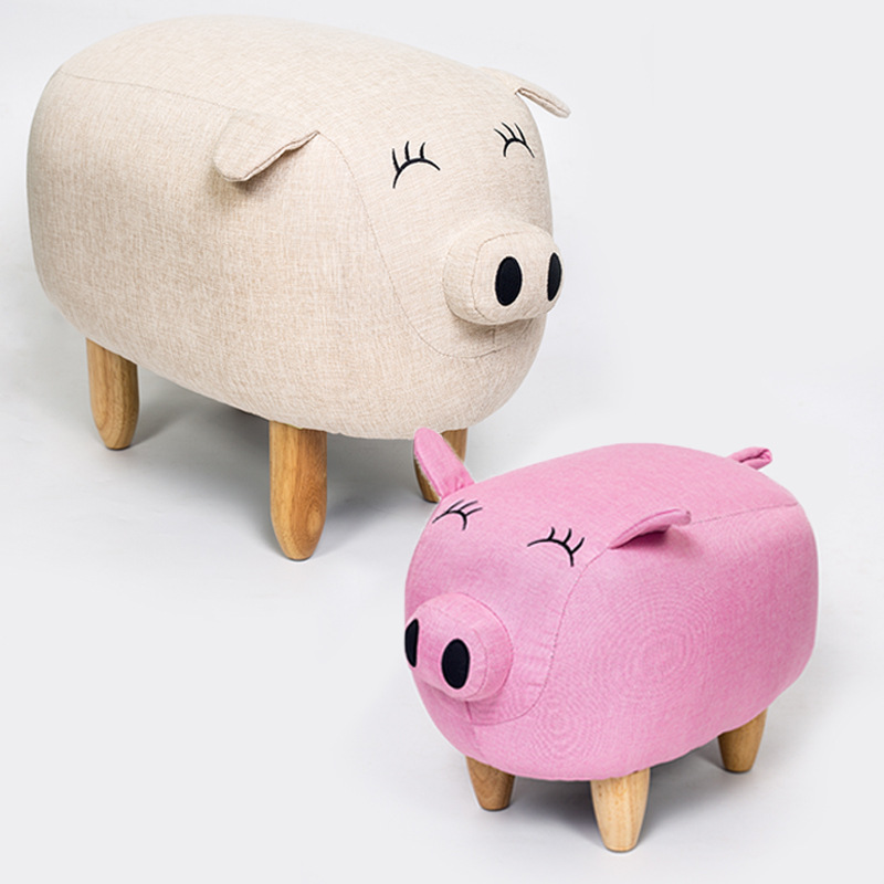 Lovely Pig Shape Child Chair Creative Kids Baby Couch Footstool Bench Sofa With Cotton Linen Fabric SmallSofa Bedroom Furniture