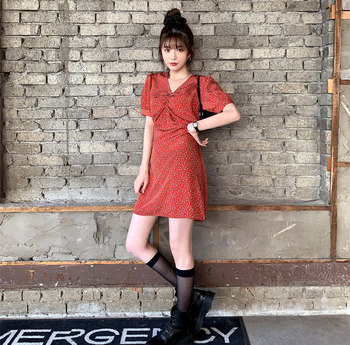 цена на Plus Size New Summer Dress Girls red Party Female Vintage Dress print short Sleeve Women Dresses oversize Robe Vestido