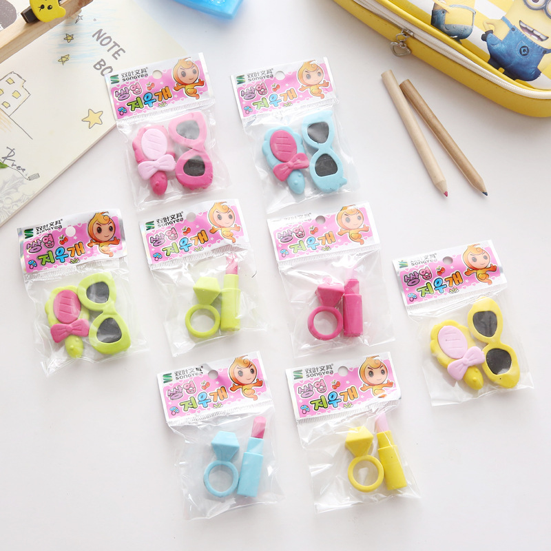 Lipstick Diamond Rubber Eraser Girl'S Cute Gift Students Small Prizes Children Learning Supplies Creative Stationery