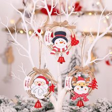 Creative Wooden Christmas Decor Pendant Color Elk Hollow Letter Rattan Round Garland Christmas Tree Ornaments Decor Kids Toys #(China)