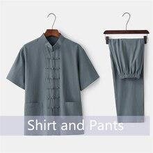 Китайский традиционный комплект одежды для мужчин, летняя льняная рубашка Кунг-фу с пряжкой, Восточный ретро Топ и штаны, тайцзи «дышащая» униформа