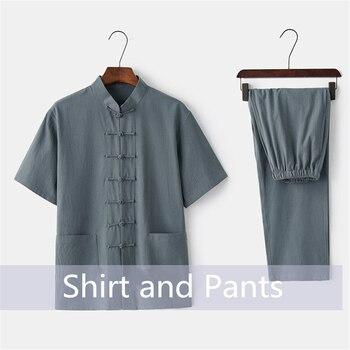 الصينية التقليدية الملابس مجموعة رجل الصيف الكتان مشبك الكونغ فو قميص الشرقية الرجعية أعلى السراويل تاي تشي تنفس الزي الرسمي