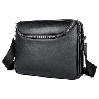 Man Crossbody Bags Real Leather 2019 Men Small Black Casual Business Travel Flap Shoulder Messenger Bags