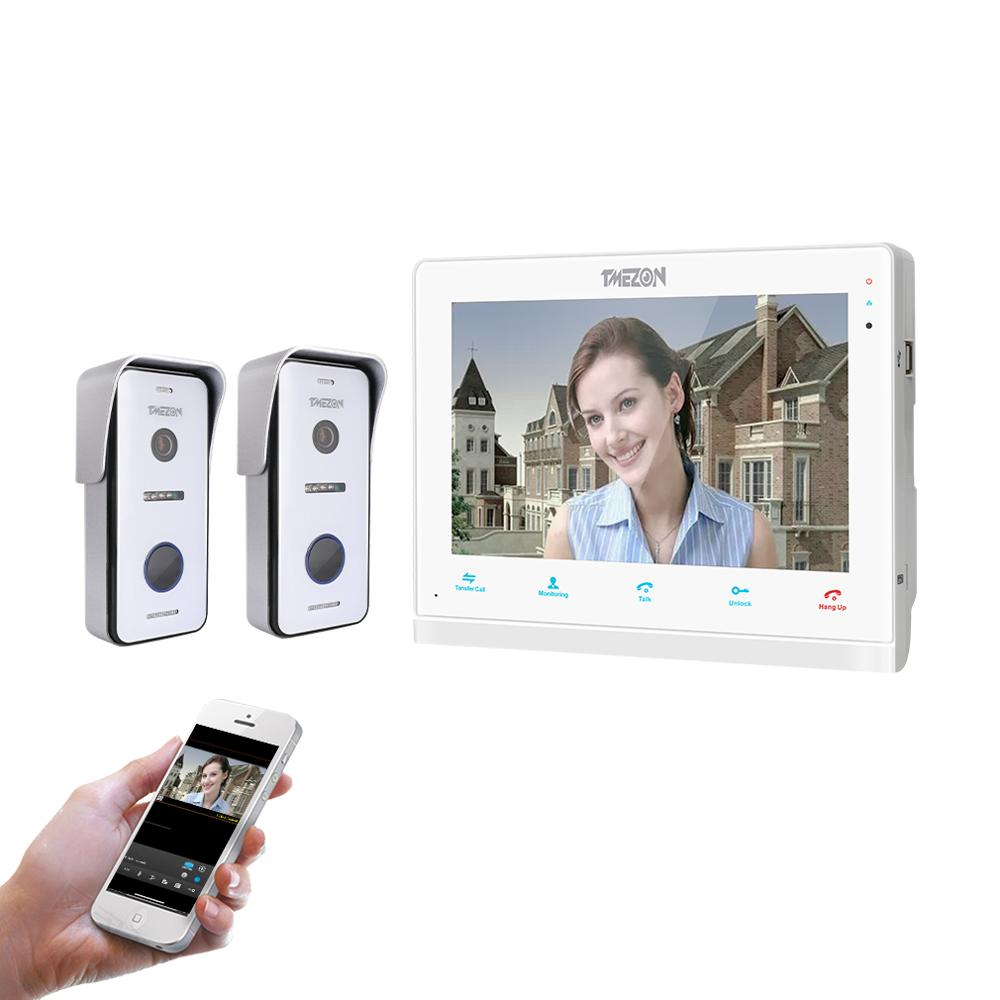 TMEZON 10 Inch Wireless/Wifi Smart IP Video Doorbell Intercom System ,1xTouch Screen Monitor With 2x720P Wired Door Phone Camera