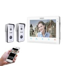 Tmezon 10 インチワイヤレス/wifiスマートipビデオドアベルインターホンシステム、 1xtouch画面モニターと 2 × 720 720p有線ドア電話カメラ