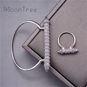Image 1 - MoonTree New Arrive Luxury Nail Shape Super Shing Full AAA Cubic Zriconia Wedding Saudi Arabic Dubai Bangle Ring Set For Women