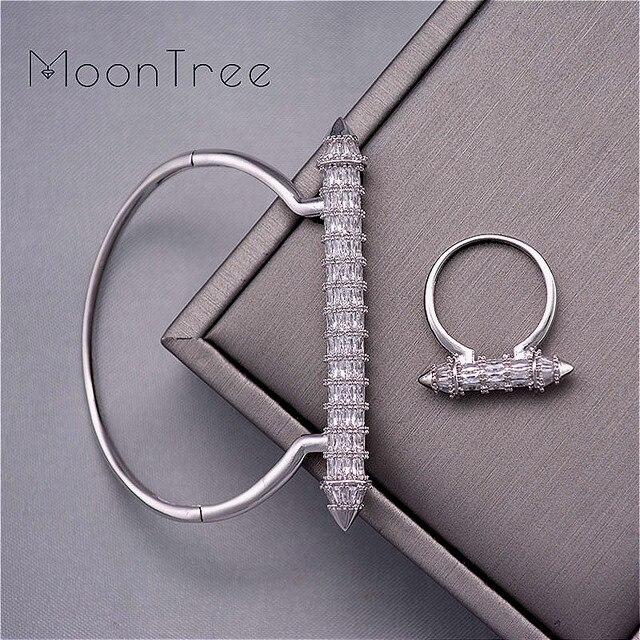 MoonTree New Arrive Luxury Nail Shape Super Shing Full AAA Cubic Zriconia Wedding Saudi Arabic Dubai Bangle Ring Set For Women