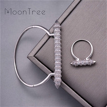 Moontree Nieuwe Komen Luxe Nail Vorm Super Shing Volledige Aaa Cubic Zriconia Bruiloft Saudi Arabische Dubai Bangle Ring Set Voor vrouwen