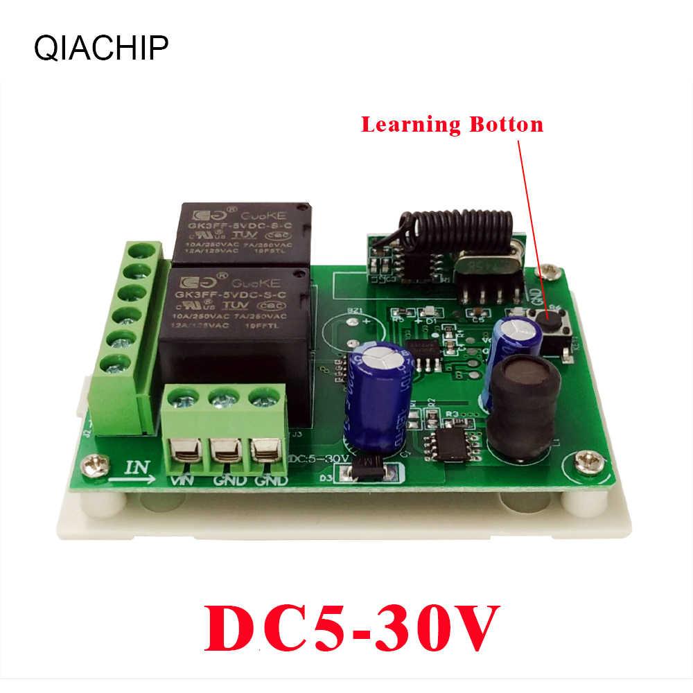 QACHIP 433 MHz DC 5-30V 2CH รีเลย์ตัวรับสัญญาณรีเลย์ไร้สายรีโมทคอนโทรล + รีโมทคอนโทรล RF เครื่องส่งสัญญาณ 24V LED LIGHT