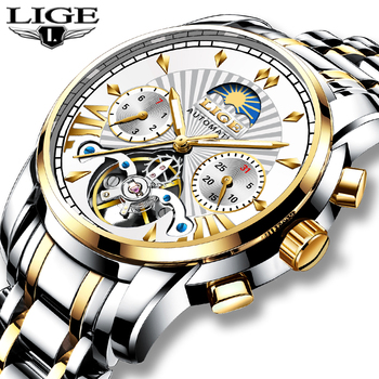 LIGE Mens Watches Top Brand Luxury Automatic Mechanical Tourbillon Watch Men Military Sport Waterproof Relogio Masculino