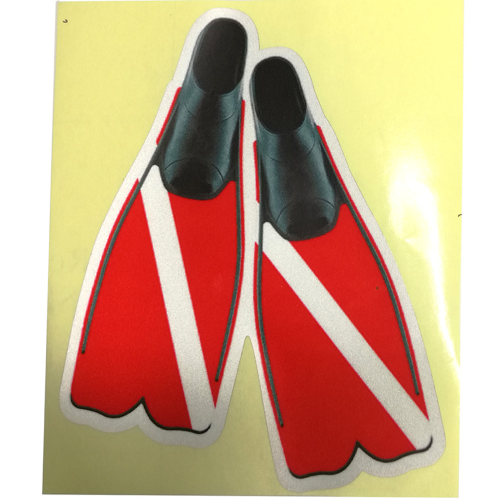 11.4CM*14CM Scuba Dive Fins Stickers Diving Bag Marine Boat Personalized Stickers Tank Marker