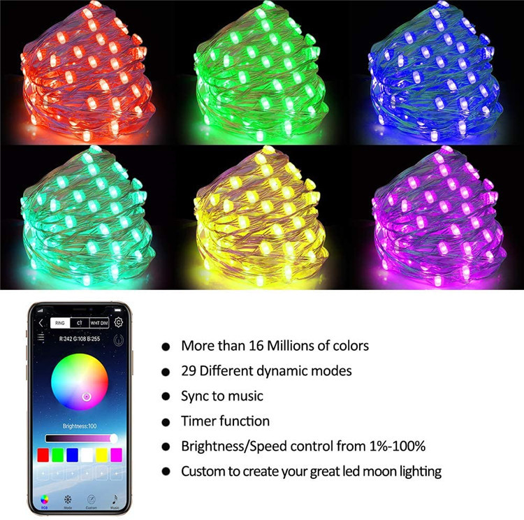 New Year 2021 RGB LED String Light Strip Xmas Tree Decoration Lights App Remote Control Christmas Decorations 2021 Accessories