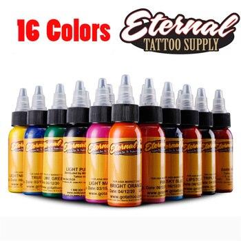 30ml / bottle Tattoo Ink Set  Make-up Art Pigments 16PCS Eyeliner Pen Tattoo Cosmetics Lip Gloss
