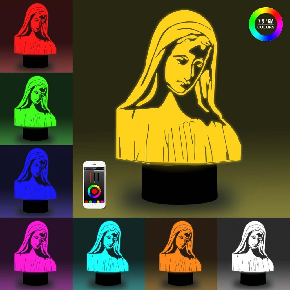 NiteApps 3D Mother Of God Night Light Desk Table Illusion Decoration Lamp Holiday Birthday Gift APP/Touch Control