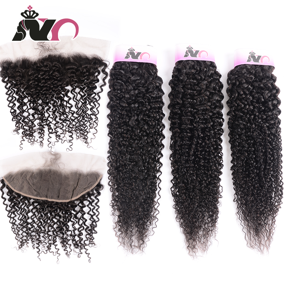 NY Hair Bundles With Frontal Peruvian Kinky Curly Wave Human Hair 3 Bundles With 13*4 Closure Non-Remy Bundles With Lace Closure