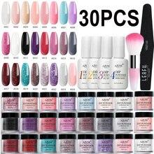 AZURE BEAUTY 30Pcs/Lot Full Set Gradient Color Dipping Powder Nail Art Brush Set Holo Glitter Dip Powder Glitter Nail Powder Kit