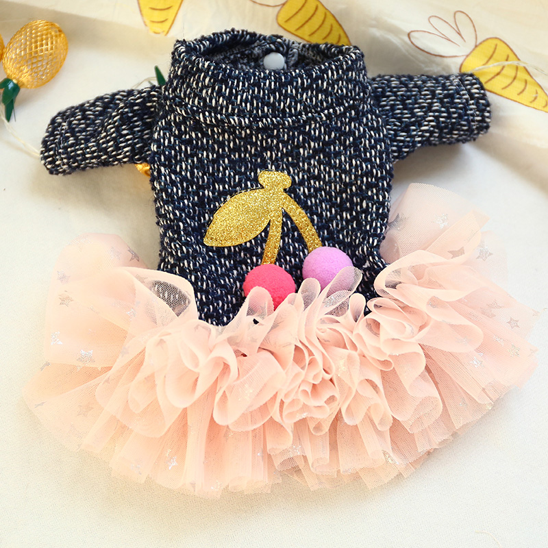 Winter Dress for Pet Dog Clothes Cute Star Pink Cherry Skirt Puppy Clothing Spring Fashion Princess Skirt For Small Dog Costume in Dog Dresses from Home Garden