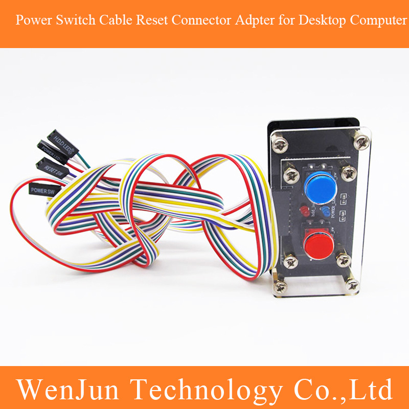 DIY Desktop Computer Power Switch Cable Button Power Reset Button Restart LED Power Adpter