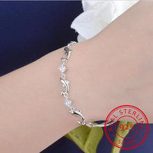 Женский браслет из серебра 925 пробы с фианитами
